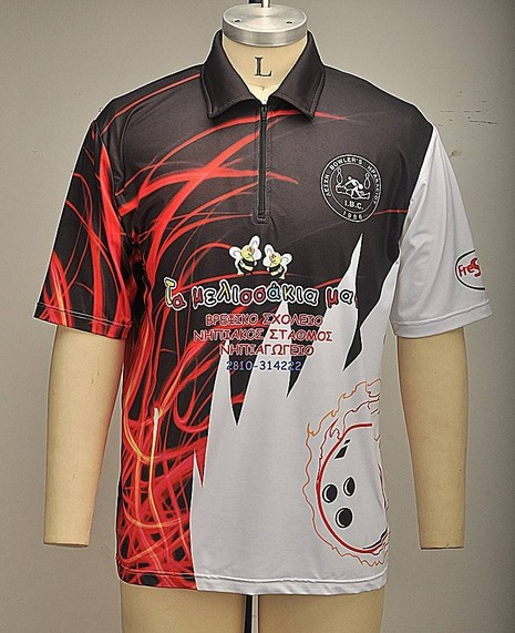 Custom design sublimation printing polyester bowling shirt-6FS47582